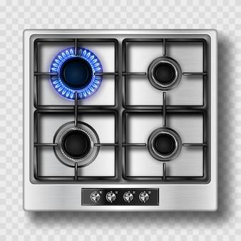 Vista superior do fogão a gás com chama azul e grelha de aço
