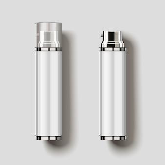 Vista superior do frasco de spray cosmético, frascos em branco em ilustração 3d s