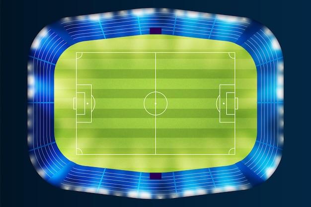 Vista superior do fundo do campo de futebol