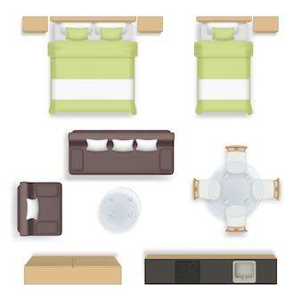 Vista superior do interior. quarto de estar, banheiro, casa, sofá, cadeiras, mesa, guarda-roupa, móveis, realistas