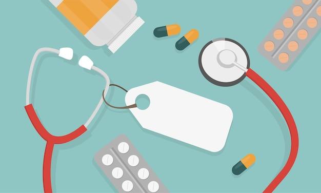Vista superior do local de trabalho do médico. estetoscópio médico e comprimidos. ilustração vetorial em estilo simples. conceito médico