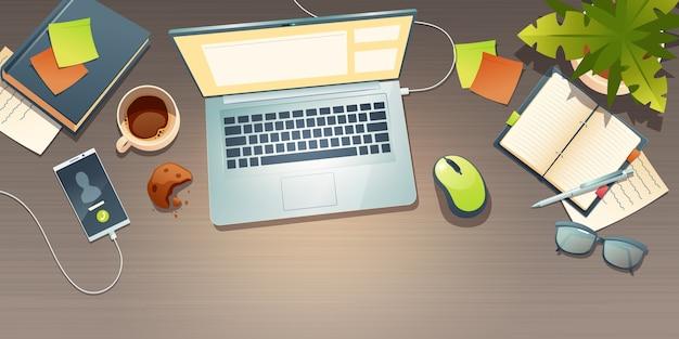 Vista superior do local de trabalho, mesa de escritório, espaço de trabalho com xícara de café, biscoito desintegrado, planta em vaso, telefone celular e documento no laptop. ilustração de desenho animado com óculos e papelaria no local de trabalho