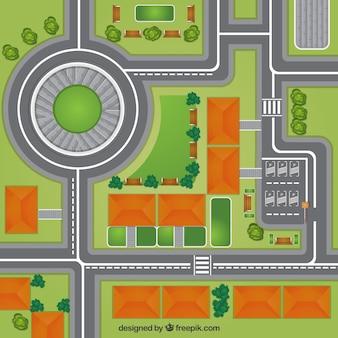 Vista superior do mapa da cidade