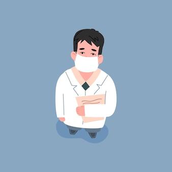 Vista superior do médico com máscara facial médica e jaleco branco, olhando para cima