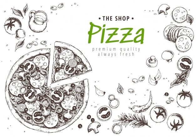 Vista superior do menu de pizza italiana