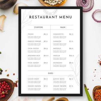 Vista superior do menu e comida do restaurante