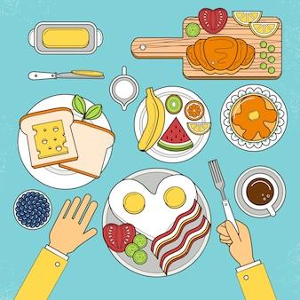 Vista superior do nutritivo café da manhã