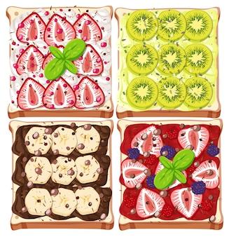 Vista superior do pão com cobertura de frutas