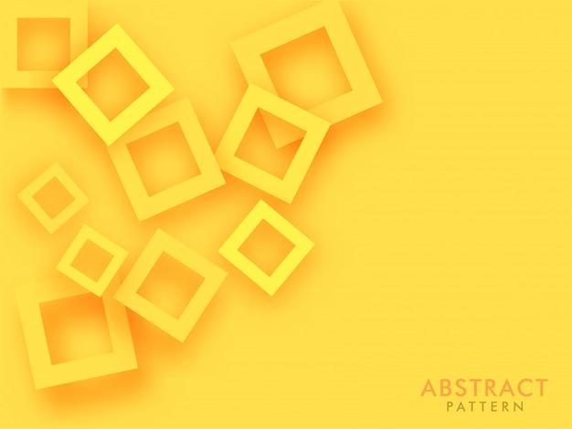 Vista superior do papel cortado formas quadradas geométricas sobre fundo amarelo.