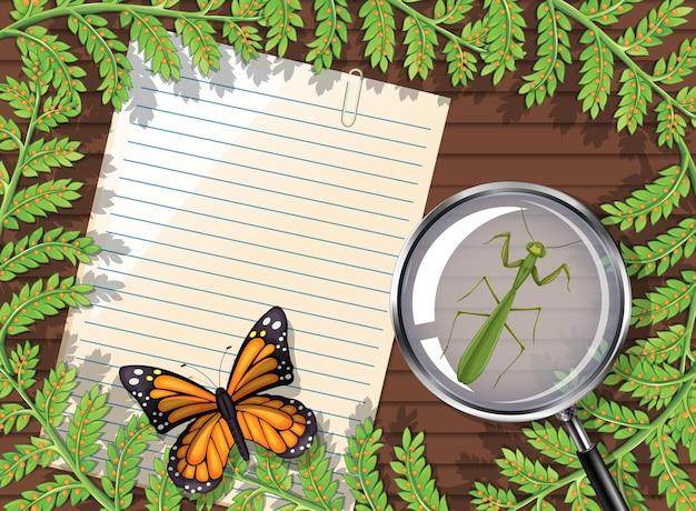 Vista superior do papel em branco na mesa com folhas e elementos de insetos