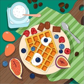 Vista superior do prato com doces e frutas na tábua de madeira coberta por guardanapo de tecido