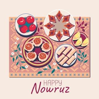 Vista superior do prato de pakhlava e shekerbura e goga é uma deliciosa massa doce para o nowruz feliz significa ano novo persa