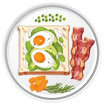 Vista superior do prato do café da manhã com ovo no pão e bacon