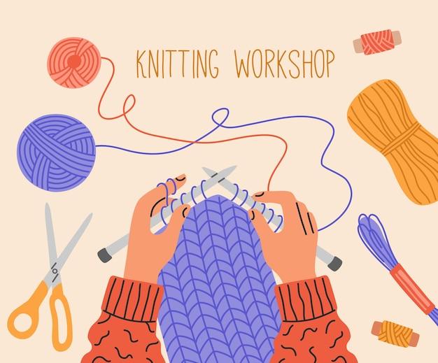 Vista superior do processo da oficina de tricô, mãos segurando agulhas perto de fios e bolas de fios.