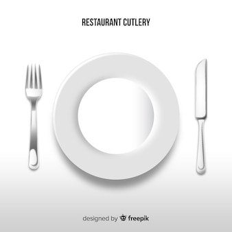 Vista superior do restaurante talheres com design realista