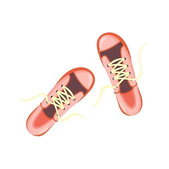 Vista superior do tênis rosa