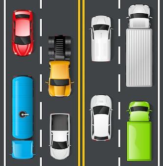Vista superior do tráfego