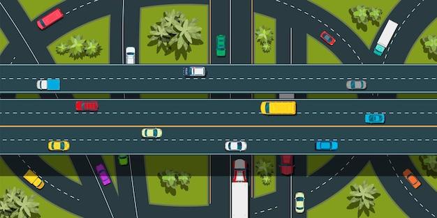 Vista superior do transporte urbano