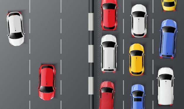 Vista superior dos carros na estrada