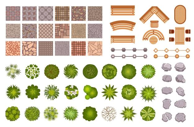 Vista superior dos elementos do mapa do projeto da paisagem do parque da cidade. árvores e plantas de jardim, bancos, ladrilhos do caminho da estrada e pedras de cima. conjunto de vetores de plano de parque