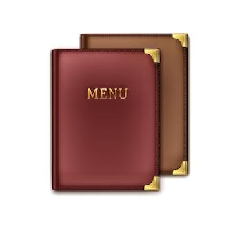 Vista superior dos suportes do livro do menu do café marrom e vinoso vetor dois isolada no fundo branco