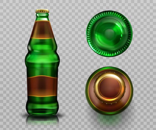 Vista superior e inferior da garrafa de cerveja, bebida alcoólica em frasco de vidro verde com rolha de metal fechada labek