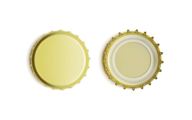 Vista superior e inferior da tampa de garrafa dourada