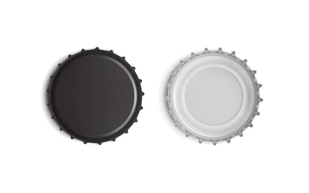Vista superior e inferior da tampa de garrafa preta isolada no branco