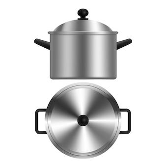 Vista superior e lateral da panela de metal realista ou caçarola. ilustração de utensílios de cozinha