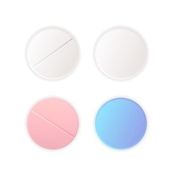 Vista superior em diferentes pílulas redondas, vetor de medicamentos definido em branco