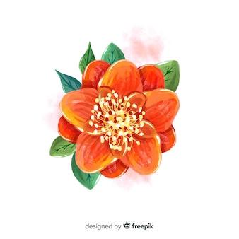 Vista superior flor de laranjeira com folhas