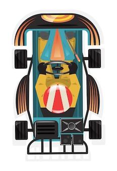 Vista superior ícone isolado de piloto de kart