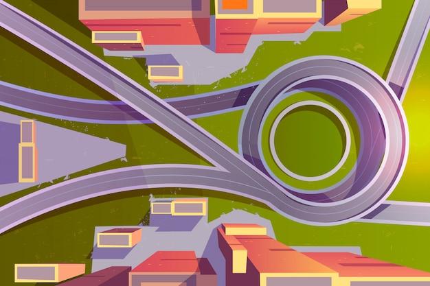 Vista superior intercâmbio de transporte na cidade