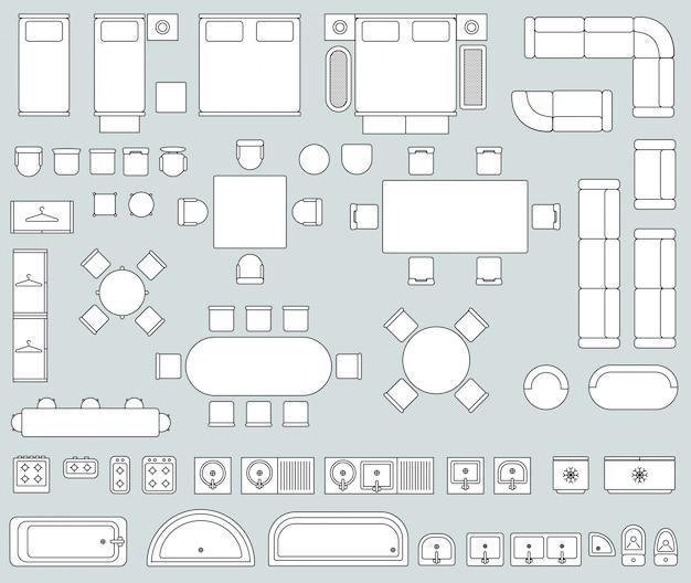 Vista superior interior com ícones de mobiliário de linha