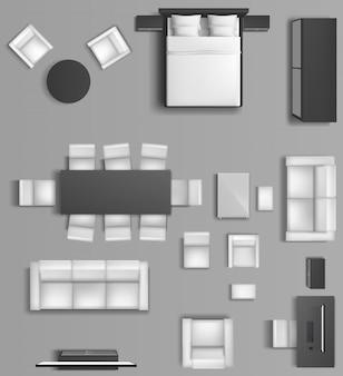 Vista superior interior em casa. apartamento moderno, acomodação de sala e quarto com mobília.