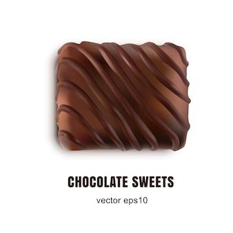Vista superior isolada de bombons de chocolate