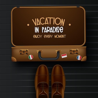 Vista superior na ilustração do conceito de viagens e turismo