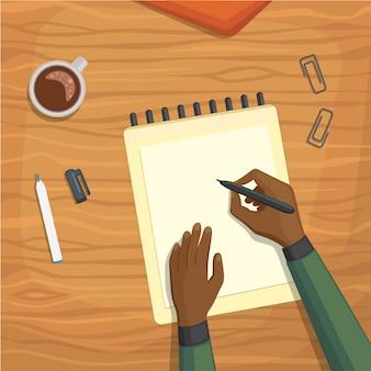 Vista superior no conceito de mesa escrita.