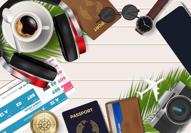 Vista superior no conceito de viagens e férias sobre fundo de madeira