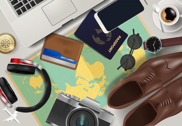 Vista superior no fundo do conceito de viagens e turismo
