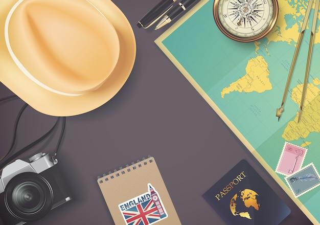 Vista superior no modelo de conceito de viagens e turismo
