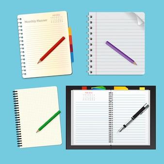 Vista superior notebook set para educação