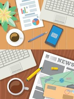 Vista superior plana de ilustração de mesa. conjunto de 2 ilustrações vista superior do desktop plana. vista de cima. café de negócios desktop, laptop, gráficos. área de trabalho em casa com jornal, cartas de papel, café.
