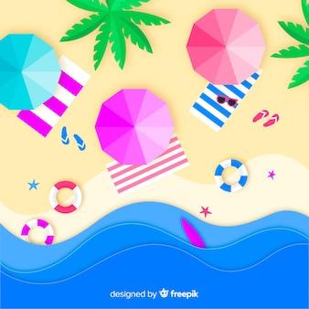 Vista superior praia colorida em estilo de papel