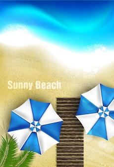 Vista superior realista praia ensolarada