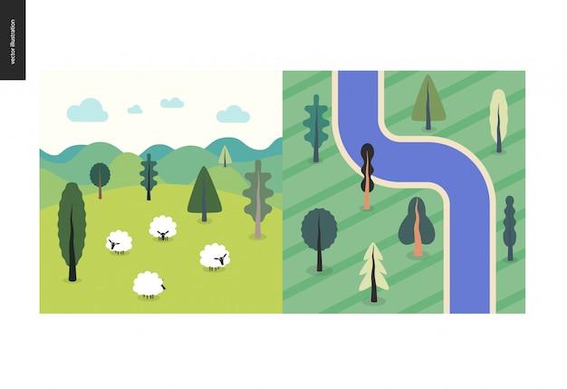 Vista superior, satélite do rio com árvores, campo, paisagem com ovelhas, colinas, nuvens, paisagem verde verão