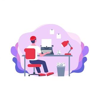 Vista traseira cartoon ghostwriter masculino trabalhando sentado na mesa digitando no papel usando a máquina de escrever