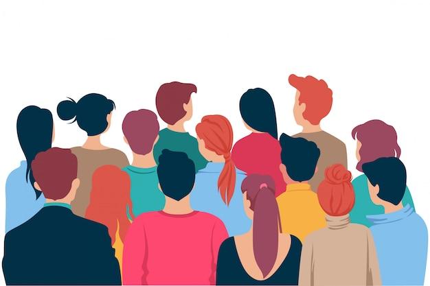 Vista traseira colorida cabeça de pessoas dos desenhos animados multidão assistindo teatro isolado