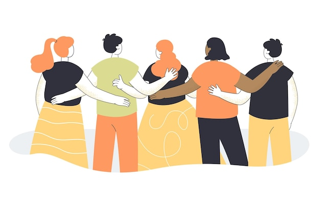 Vista traseira da equipe de desenhos animados de homens e mulheres se abraçando