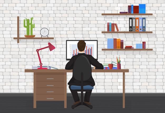 Vista traseira, de, escritório, homem, local trabalho